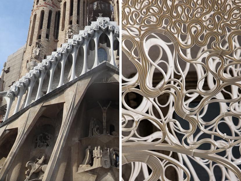 Sagrada Familia © wikipedia / Zaha Hadid Architects 'Thallus' © luke hayes